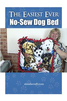 The easiest ever no sew dog bed. Make this no sew bed for your pet. Our step by step tutorial shows how easy it is to make this pet bed. Diy And Crafts Sewing, Dog Crafts, Diy Sewing Projects, Sewing Projects For Beginners, Craft Tutorials, Sewing Tutorials, Sewing Patterns, Cat Quilt, Animal Projects