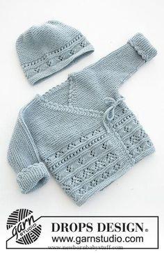 Odeta / DROPS Baby 31-3 - Das Set umfasst: Gestrickte Jacke mit angestrickten Ä... Baby Knitting Patterns