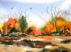 fall+watercolor | autumn color by artist rita squier original watercolor painting size ...