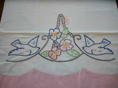 Vintage Pillowcase - Birds and Flowers Embroidered Pillow Case
