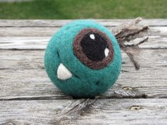 Green One Eye Monster Ball with Dimples and by WarmFuzziesByGen