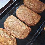 "Brunch next step. ""French Toast"" made with savory egg mix and sourdough slices. Made a whole batch of these while the sweet potato homefries were cooking up. You MUST try this Savory Egg mix - you will completely forget about eggs for breakfast, forever. Google search for ""DIY Savory Egg"". Do it now, thank us later!  #crueltyfree #dairyfree #sourdoughbread #eggfree #brunch #breakfast"