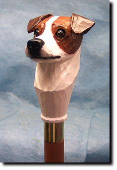 Jack Russel Walking Stick-Cast resin head is hand carved & hand painted. Hand Carved Walking Sticks, Wooden Walking Sticks, Walking Sticks And Canes, Walking Canes, Jack Russell Dogs, Jack Russell Terrier, Hiking Staff, Cannes, Whittling Wood