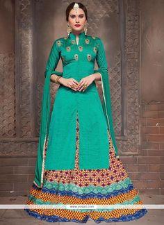 Stupendous Bhagalpuri Silk Turquoise Embroidered Work Long Choli Lehenga Model: YOLEN4152