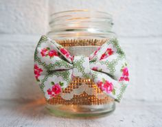 Cath kidston style fabric bow candle holder by SewMice on Etsy