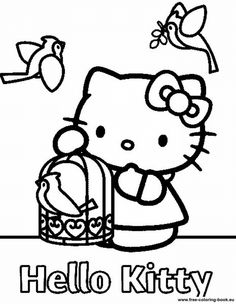 coloring page Hello Kitty on Kids-n-Fun. Coloring pages of Hello Kitty on Kids-n-Fun. More than coloring pages. At Kids-n-Fun you will always find the nicest coloring pages first! Hello Kitty Colouring Pages, Bird Coloring Pages, Printable Coloring Pages, Coloring Pages For Kids, Coloring Sheets, Coloring Books, Kids Coloring, Free Coloring, Decoupage Vintage