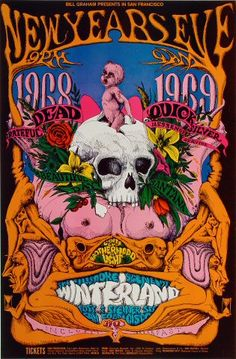 Grateful Dead Poster - Rock posters, concert posters, and vintage posters from the Fillmore, Fillmore East, Winterland, Grande Ballroom, Armadillo World Headquarters, The Ark, The Bank, Kaleidoscope Club, Shrine Auditorium and Avalon Ballroom.