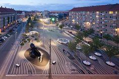BIG, Superkilen, Copenhagen. Graphic lines, visual movement.