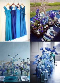 Love the blues, but maybe would add one little color to pop  Indigo Blue {Inspiring Wedding Decor}