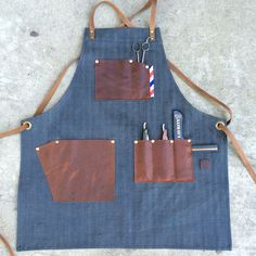 Petite size female barber apron #custommade #handcrafted #denim #barberapron…