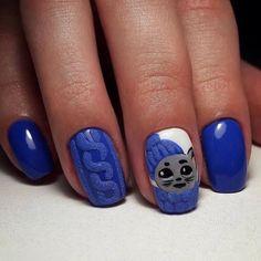 3d nails, Bright blue nails ideas, Hardware nails, Ideas of winter nails, Nails ideas 2016, Nails with cats, New year nails ideas 2017, Original nails