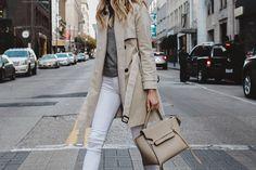 Club Monaco Trench Coat Grey Sweater White Skinny Jeans Celine Belt Bag Fashion Jackson Dallas Blogger Fashion Blogger Street Style