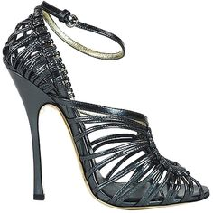 Pre-owned Tom Ford Strappy Metallic Charcoal Ankle Strap Sandals Heels... (1 070 735 LBP) ❤ liked on Polyvore featuring shoes, sandals, metallic charcoal, tom ford, pre owned shoes, tom ford sandals, strappy shoes and metallic shoes