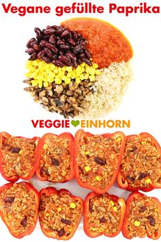 Vegane gefüllte Paprika Vegan stuffed peppers from the oven Delicious filling of rice, mushrooms, kidney beans and corn vegan recipes deutsch Healthy Recipes, Clean Eating Recipes, Vegetarian Recipes, Healthy Eating, Eating Clean, Vegan Vegetarian, Veggie Stuffed Peppers, Stuffed Mushrooms, Rice Recipes For Dinner