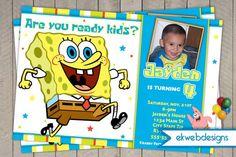 SpongeBob Square Pants Birthday Invitations- Sponge Bob Invite