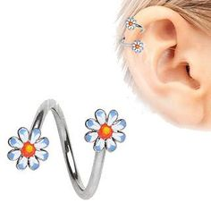 eb784456c 316L Stainless Steel Daisy Flower Twist Jewelry Cute Cartilage Earrings,  Double Chain, 316l Stainless