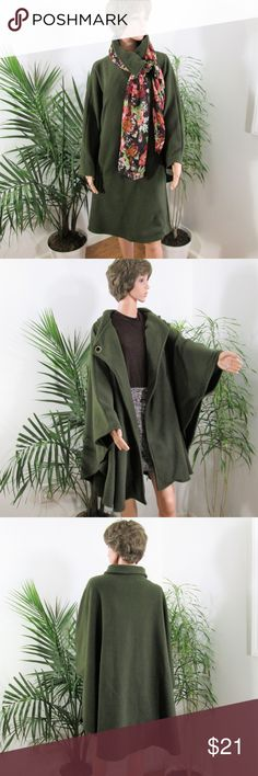 """NEW❣️OSFA Plush Olive Cape Incredibly soft & warm without being overly heavy. Fleecy inner, toggle clasp under collar, arm holes, 2 pockets. Knee length on 5' 9'' model.  100% easy care poly. Approx. 38"""" long. 62"""" from cuff to cuff.  Dress it up or down. Chic Trendy Neutral Le Moda Jackets & Coats Capes"""