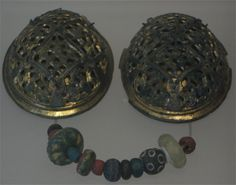 Oval Brooches and Glass Beads, , Viking Age, Scotland, Great Britain (National Museum Edingburgh)