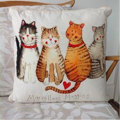 Marvellous Moggies Cushion By Alex Clark - A Bentley Cushions Face Coasters, Cat Clock, Cat Purse, Cat Cushion, Cat Statue, Wooden Cat, Tapestry Design, Cat Cards, Cat Face