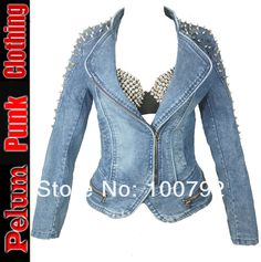 Aliexpress.com : Buy punk rock biker Spike Jeans Jacket Women Spike Studded Shrug Shoulder Outwear Coats Women Denim Cropped VINTAGE  Denim Jacket from Reliable punk leggings suppliers on Pelum Fashion Factory Store $58.00