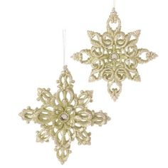"RAZ Imports - Gold Snowflake Ornaments 5.5"" - Set of 2"