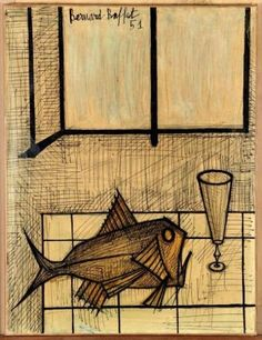 Bernard Buffet - NATURE MORTE AU POISSON; Creation Date: 1951; Medium: ink and oil laid down on paper; Dimensions: 25.59 X 19.69 in (65 X 50 cm)