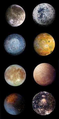 These are the moons of Jupiter... Io, Ganymede, Callisto, Europa ect.