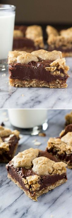- Oatmeal Fudge Bars Chewy oatmeal cookie and creamy chocolate come together in these Oatmeal Fudge Bars. So easy to make, and so much better than the Starbucks version! Smores Dessert, Dessert Party, Appetizer Dessert, Keto Desserts, Just Desserts, Delicious Desserts, Dessert Recipes, Fudge Recipes, Oats Recipes