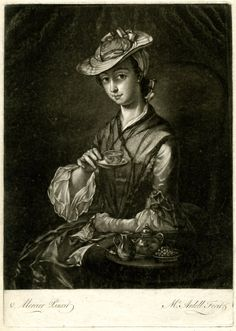 A lady taking tea, seated turned to left, wearing a dark net shawl, looking towards the viewer from beneath the brim of her hat, holding a teacup on its saucer in front of her at chest level, left hand, gloved and holding its pair, in her lap, a tea-tray with pot, sugar bowl and cream-jug on the table in front of her; after Mercier.