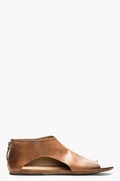 Marsll Brown Leather Cut_out Sandals