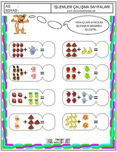 okul öncesi basit toplama işlemi - Google'da Ara Pre K Worksheets, Addition Worksheets, School Id, Pre School, Math For Kids, Fun Math, Preschool Printables, Preschool Activities, Turkish School