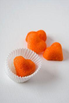 Blood orange flavored sugar cubes