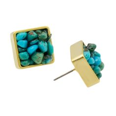 Gold Framed Turquoise Earrings