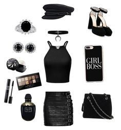 """""""BLACK"""" by maria-matilde-ibsen on Polyvore featuring Gucci, Casetify, Alexander McQueen, Eos, Maybelline, Christian Dior, Jimmy Choo and Chanel"""