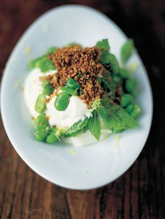 moroccan style broad bean salad with yoghurt & crunchy bits Jamie Oliver Food Jamie Oliver (UK) Vegetable Salad, Vegetable Recipes, Vegetarian Recipes, Healthy Recipes, Veggie Dishes, Healthy Meals, Bean Salad Recipes, Cheese Recipes, Jamie Oliver
