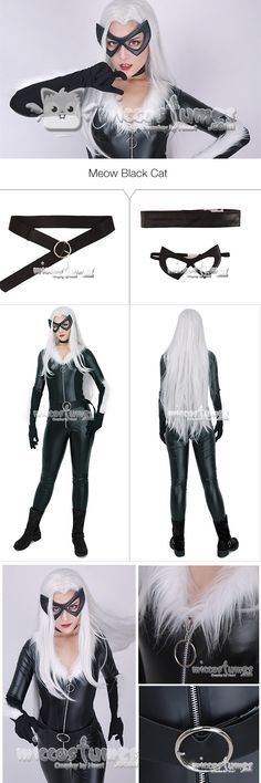 Meow Black Cat Cosplay Costume Jumpsuit with Mask and Choker sells at Miccostumes #cosplay #miccostumes #blackcat #blackcatcosplay #meow