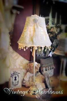 Love this shabby Chic lampshade by Gillian Shaw on ETSY