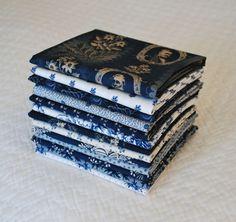 Custom made Fat Quarter Bundle of 1800s Reproduction Indigo Blues by Nauvoo Quilt Co. Civil War Antique Quilt.