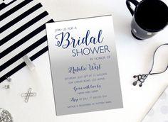 Navy Blue Ombre Invitation Silver Gray Bridal by PaperHabitStudio