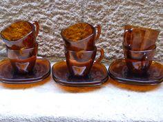 Retro set de 6 tazas y platitos de la casa francesa por Mementosbcn