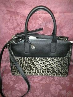 NWT DKNY HERITAGE Logo Saffiano PVC Purse Handbag Crossbody  295 Black Gold   DKNY  Heritage 10b4514ce2e