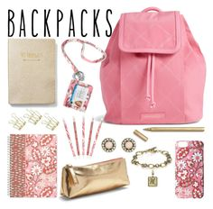 """""""Pink Vera Bradley Backpack"""" by nancy-nicol ❤ liked on Polyvore featuring Vera Bradley, Chloe + Isabel, Express, backpacks, contestentry and PVStyleInsiderContest"""
