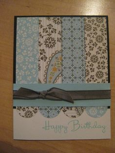 """**** 2015 Brian & Jeanne Anniv. Used Baked Brown Sugar for base card & Linen Closet Papers. Cut strips 1"""" each & taped tog. on back. 1"""" circle punch to make 1/2 scallops. Rearranged so not the same as above each strip."""