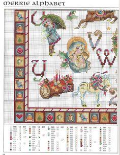 Merrie Alphabet 10 of 11 Xmas Cross Stitch, Cross Stitch Boards, Beaded Cross Stitch, Crochet Cross, Cross Stitch Alphabet, Cross Stitch Samplers, Counted Cross Stitch Patterns, Cross Stitching, Cross Stitch Embroidery