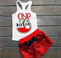 Baby Girl One in a Melon Tank Top and Sequin Shorts Set