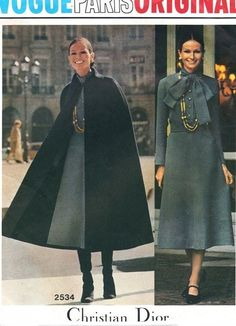 1970s STUNNING Cape Coat and Midi Dress DIOR Pattern Vogue Paris Original 2534…