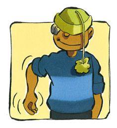 Spel; schudden met een lichaamsdeel, kind met hoed of pet bepaalt het lichaamsdeel