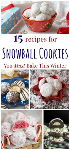 15 Recipes for Snowball Cookies You Must Bake This Winter - new twists on the classic Christmas cookie recipe holiday baking Holiday Cookies, Holiday Treats, Holiday Recipes, Christmas Recipes, Holiday Desserts, Cookie Desserts, Cupcake Cookies, Cookie Recipes, Cupcakes