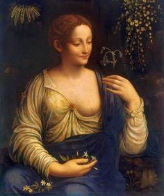 Portrait of Young Woman - Flora (1520) , artist - Moretto da Brescia