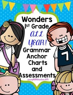 This mega-bundle includes Wonders Units 1-6 Grammar Charts and Assessments.Included: (2) anchor charts, (2) assessments and (2) answer keys per week depending on skills. Some weeks may only include 1 chart and assessment/answer key.These skills correlate with the McGraw Hill Wonders program for 1st grade grammar skill and mechanics.Please check out each week for a detailed preview!